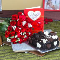 Heart Shape Chocolate Cake with Roses Bouquet and Love Card for Moga