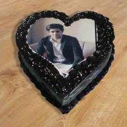 Heart Shape Chocolate Photo Cake for Alappuzha