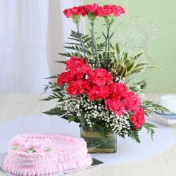 Heart Shape Strawberry Cake with Pink Carnation Arrangement for Vasco Da Gama