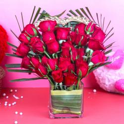 Heart Shape Thirty Red Roses Arrangement for Chandigarh
