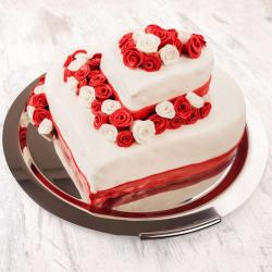 Heart Shape Two Tier Cake for Delhi