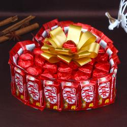 Heart Shaped KitKat Chocolates Cake