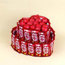 Heart Shaped Two Tier Kit Kat Chocolates Cake for Kapurthala