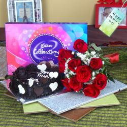 Heartshape Cake with Roses Bouquet and Cadbury Celebration Chocolate Pack for Dombivli