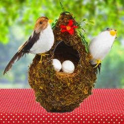 Home Decor Showpiece Couple Pair of Sparrow Bird on a Tree Trunk for Bangalore