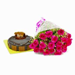 Hot 20 Pink Roses with Chocolate Cake for Dewas
