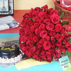 Hundred Red Roses Bouquet with Chocolate Cake for Kapurthala