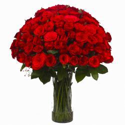Hundred Red Roses Vase Arrangement for Chennai