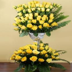 Hundred Yellow Roses Arrangement for Moradabad