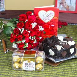 I Love You Valentine Combo with Heartshape Cake for Gurgaon