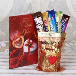 Imported Chocolate Bars with I Love You Greeting Card for Baroda