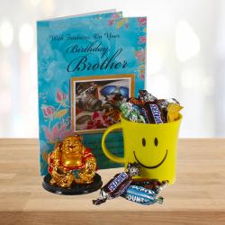 Imported Miniature Chocolates Smiley Mug with Laughing Buddha and Birthday Card For Bro for Delhi
