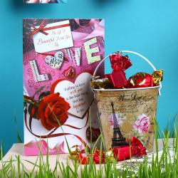 Imported Toffees Bucket and Love Greeting Card for Lucknow
