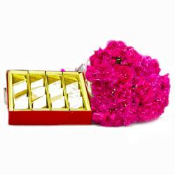 Kaju Barfi with 15 Pink Carnations Bouquet for Gurgaon