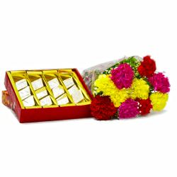 Kaju Barfi with Bouquet of 10 Mix Carnations for Delhi