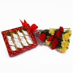 Kaju Katli Sweets with Fresh Carnations Bouquet for Madras