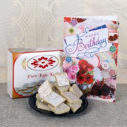 kaju Katli with Birthday Greeting Card for Indore