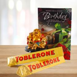 Laughing Buddha and Birthday Card with Toblerone Chocolates for Hospet