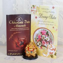 Laughing Buddha and Chocolate Date Almonds along with Birthday Greeting Card for Sister for Delhi