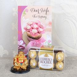 Laughing Buddha with Ferrero Box and Birthday Card for Wife for Pune
