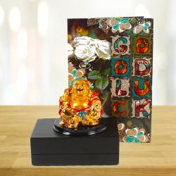 Laughing Buddha with Good Luck Greeting Card for North Goa