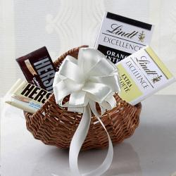 Lindt Chocolates in Cane Basket for Baroda