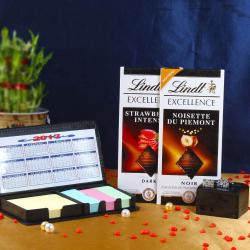 Lindt Excellence Chocolate Bar With Silver Cufflink And Sticky Notes Diary