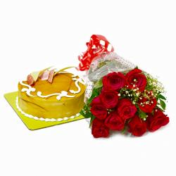 Love Bouquet of 10 Red Roses with Butterscotch Cake for Ghaziabad