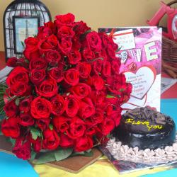 Love Card with Chocolate Cake and Roses Bouquet for Gurgaon