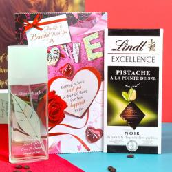 Love Combo of Elizabeth Arden Green Tea Scent and Lindt Pistache Chocolate for Chennai