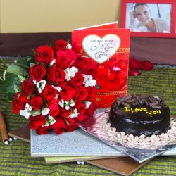 Love Greeting Card with Chocolate Cake and Red Roses Bouquet for Bangalore