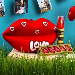 Love Toy with Lip Shaped Chocolate and Royle Chocolate in Combo for Delhi