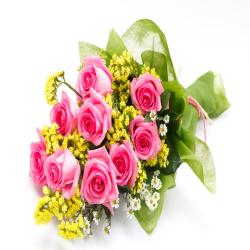 Lovely 10 Pink Roses Bouquet for Chennai