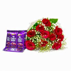 Lovely 10 Red Roses with Five Cadbury Dairy Milk Chocolate Bars for Kanchipuram