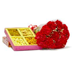 Lovely 12 Red carnation with Box of Mix Dry fruits for Mathura