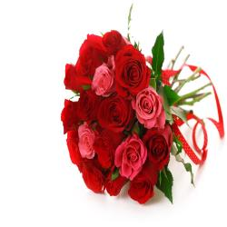 Lovely 16 Red And Pink Roses Bouquet for Alappuzha