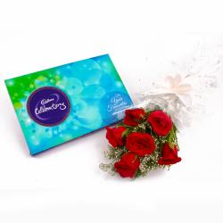 Lovely 6 Red Roses Bunch and Cadbury Celebration Chocolate Box for Jalandhar