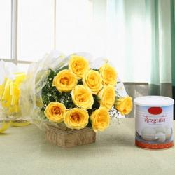 Lovely Bouquet of Ten Yellow Roses with Rasgulla for Bangalore