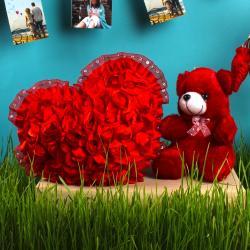 Lovely Red Heart and Teddy Gift Set for Mumbai