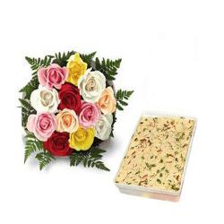 Lovely Roses And Soan Papdi Box for Ghaziabad