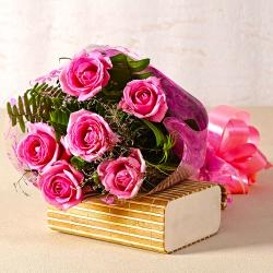 Lovely Six Pink Roses Bouquet with Cellophane Wrapped for Hospet