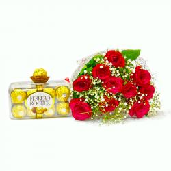 Lovely Ten Red Roses Bouquet with Ferrero Rocher Chocolate Box for Coimbatore