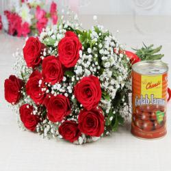 Lovely Ten Red Roses with Tempting Gulab Jamuns for Baroda