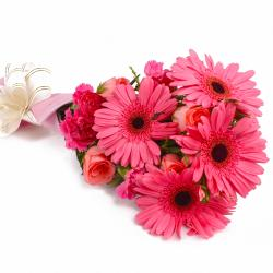 Lovely Twelve Pink Color Flowers Bouquet for Baroda