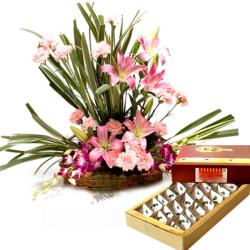 Luring Floral Arrangement with Kaju Burfi for Chennai