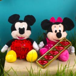 Mickey and Minnie Mouse Soft Toy and Red Love Heart with Lip Shaped Chocolate for Delhi