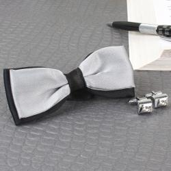 Micro Jacquard Bow Tie with Silver Cufflink for Ghaziabad