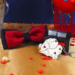 Micro Jacquard Red and Black Panel Bow Tie with Leaf I Love You Key Chain and Rectangle Shape Silver Cufflink for Pune