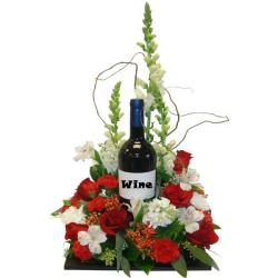Mix Flowers Basket with Wine for Bangalore
