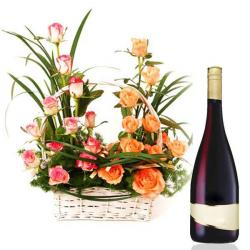 Mix Roses Basket with Wine for Bangalore